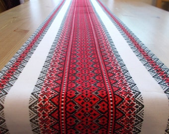 Ethnic table runner red patterns table runner tablecloth boho decor Ukrainian embroidery table linens