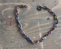 Vintage Multi Colored Gem Stone Sterling Silver Bracelet