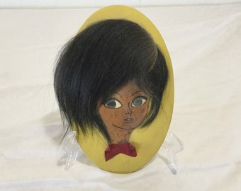 From La Clusaz Haute Savoie France Wall Hanging Big Eyed Girl art GIGE real hair free US Shipping