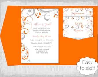 pocket wedding invitation template diy malibu blue pocketfold. Black Bedroom Furniture Sets. Home Design Ideas