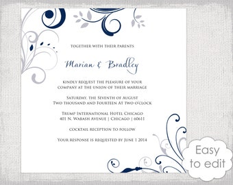 """Square Wedding invitation template Silver gray and navy blue """"Scroll"""" invitations - YOU EDIT Word digital instant download - 6x6 and 5x5"""""""