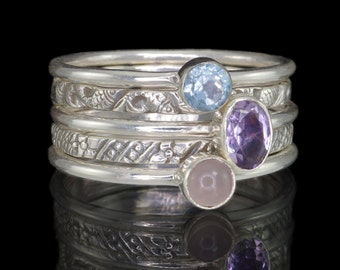 Set of 5 Stack Rings, Amethyst, Rose Quartz, Aquamarine, 925 Sterling Silver Stacking Rings #B011