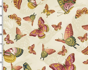 Sanctuary II - Butterflies Rose by Kona Bay (12-ROS) Cotton Fabric Yardage