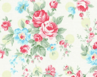 Princess Rose - Cream 31265-60 by Lecien Cotton Fabric Yardage  (Rose Clusters with Green Dots)