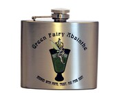 Stainless Steel Flask - Green Fairy Absinthe Design 5oz