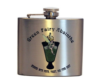 Green Fairy Absinthe Flask, Stainless Steel 5oz