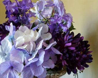 Purple Flower Arrangement, Purple Flowers, Faux Flower Arrangement, Silk Floral, White Vase, Purple Hydrangea, Renaunculus, Silk Flowers