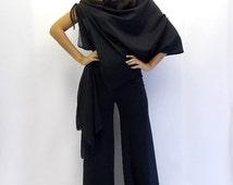 ON SALE 40% OFF Black Jumpsuit / Black Asymmetric Jumpsuit / Chiffon Xxl Jumpsuit Tj01