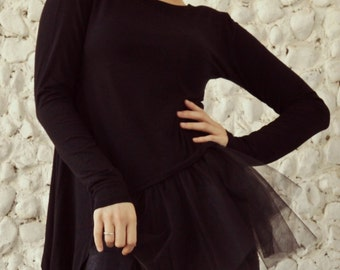 Black Asymmetrical Top / Black Tulle Blouse / Black Viscose Blouse with Tutu / Black Tutu / Asymmetrical Tutu Top TT76