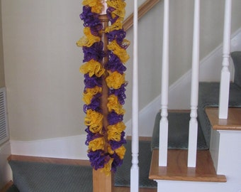 """Purple and Gold Ruffle Scarf  30"""" Long"""