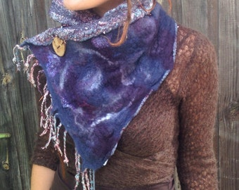 The 'Twilight Glimmers' Felted Scarf o Twinkles Sparkles and Swirls Pixie Nuno Felted Cowl Festival Clothing Felt Clothing Art to Wear