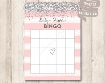 Pink and Silver Baby Shower Bingo Game Card, Silver Confetti Baby Shower Party Games Printable, INSTANT DOWNLOAD