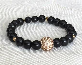 Black Bead Bracelet, Black Bracelet, Black Stretchy Bracelet, Black and Gold Bracelet, Black Bangle, Rhinestone Bracelet, Black Bracelets