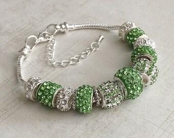August Birthstone Bracelet, Peridot Bracelet, August Bracelet, August Peridot Bracelet, Peridot Birthstone Bracelet, Green Bead Bracelet
