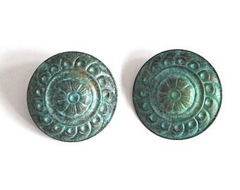 Vintage Large Round Metal Floral Patina Earrings