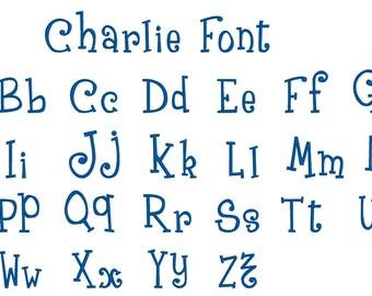 Charlie Font  -  PERSONALIZATION ADD-ON, Add embroidery to any shop item, personalization any shop item, monogram any shop item
