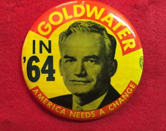 Political Campaign Button Goldwater Republican Pinback 1964 AFL-CIO Local 64