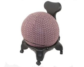 55cm Ball Chair Cover, balance ball cover, exercise ball cover, fitness ball cover - Merlot Flower of Life Print