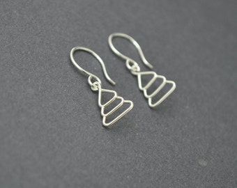 Sterling Silver Dangle Earrings, Christmas Tree Earrings, Wire Earrings, Holiday
