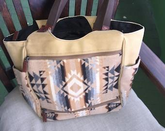 Vintage Pendelton Indian blanket wool cargo tote handbag