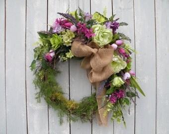 Burlap Wreath, Spring Wreath, Front Door Wreath, Designer Wreath, Home Decor, Summer Wreath