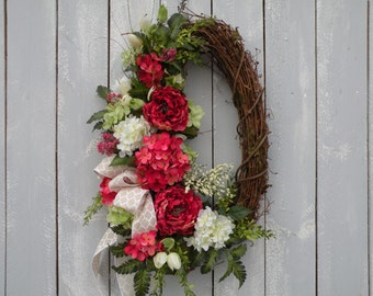 Garden Wreath, Spring Wreath, Summer Wreath, Designer Wreath, Front Door Wreath, Home Decor