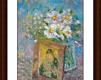 Flower with icon. Art Illustration. Print Poster