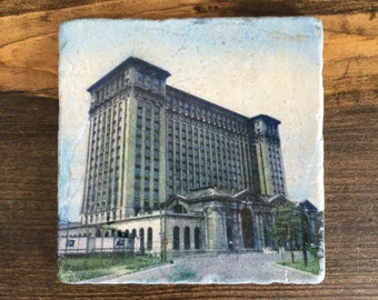 Iconic Detroit Train Station Michigan Central Station Coaster Tile with cork backing