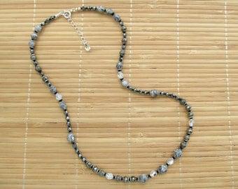Jasper, Pyrite, Hematite and Swarovski Crystal Necklace/Bracelet