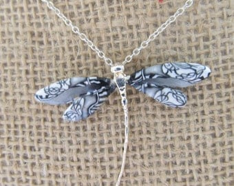 Sterling Silver and Polymer Clay Black and White Dragonfly