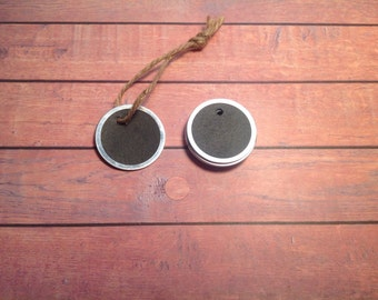 Metal rimmed tags, tags and twine, mini gift tags, chalkboard tags, drink tags, wine charm, circle tags