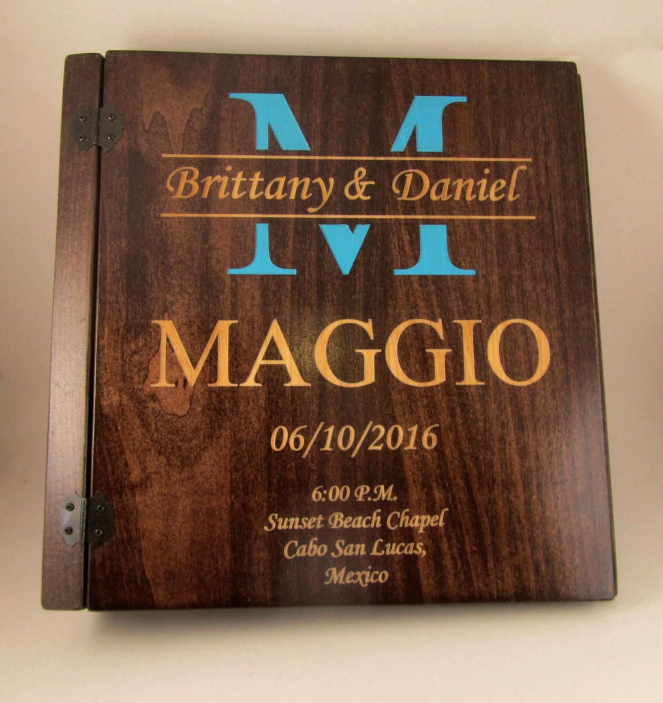 Wooden Wedding Album: Personalized Colored Monogram Wedding Photo Album 3 Ring