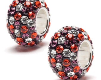 Purple, Orange and Clear Spotted Crystal Bead Charm - Set of Two - Fits Pandora