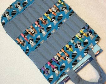 Cute little raccoon blue and gray coloring book bag, crayon tote