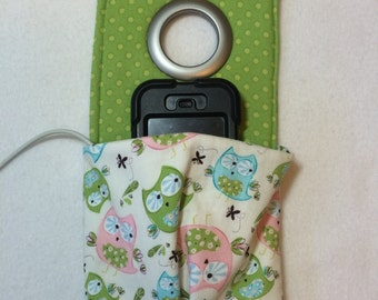 Cute little owl fabric charging station, smartphone docking station, docking station, cellphone station, charging station, owl phone case