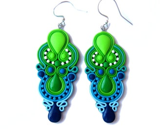 Green Earrings, Blue Earrings, Neon Earrings, Chandelier Earrings, Big Earrings, Colorful Earrings, Colorful Jewelry, Statement Earrings