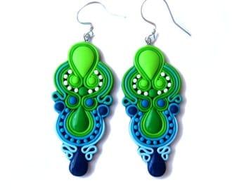 Green Earrings, Blue Earrings, Neon Earrings, Chandelier Earrings, Big Earrings, Colorful Earrings, Colorful Jewelry, Statement Earrings