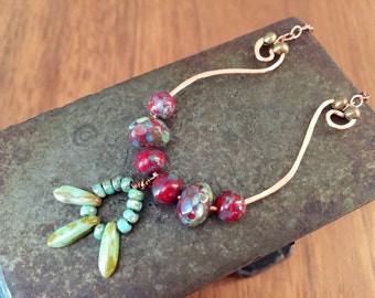 Czech Glass Bead and Hand Hammered Copper Necklace