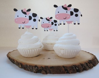 Girl Cow Cupcake Toppers - Set of 12