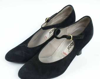 ON SALE Vintage Shoes Gabor fashion Black Suede Mary Jane Style Kitten Heels 1980's  UK3