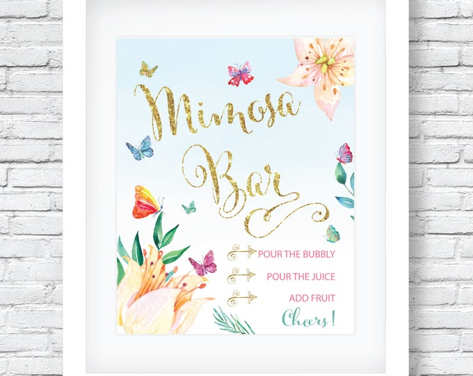 """Butterfly Mimosa Bar Sign 8x10"""" // Printed // Watercolor// Butterflies // Mimosas // Brunch & Bubbly // Made to Match our CORDOBA COLLECTION"""