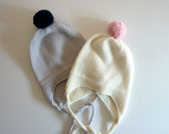 Hand knitted baby hat /  knitted baby ear flap hat / Merino wool baby hat / baby pompom hat / hand knitted baby clothing