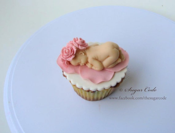 Items similar to Fondant baby with rose petals cake topper ...