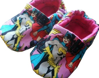 Batgirl Christmas Sewing Handmade Baby Girl's Boy Shoes Slippers Booties Choose Size 0 -24 M 3T - 5T Baby Showers Gift Pink
