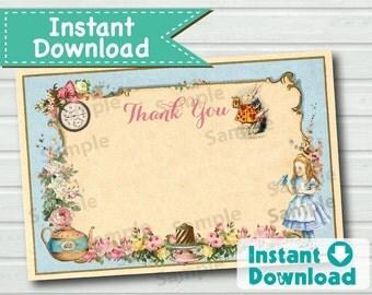 Alice in Wonderland thank you card. INSTANT DOWNLOAD. Elegant vintage blue mad hatter tea party thank you note. 4x6 inch. KB166 KB165 BS112