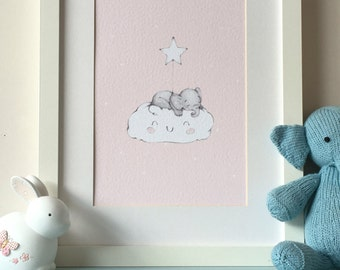 Pink - Baby Elephant on Cloud Nursery Wall Art