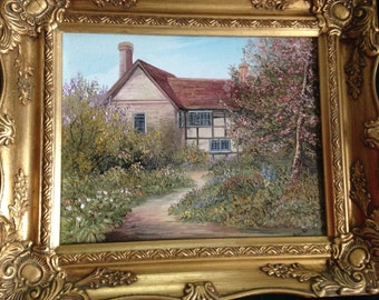 oil painting on board of one famous cottage, signed, gilt framed