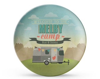 "Set of 4 Personalized Airstream Plates, Personalized Melamine RV 10"" Plate Set, Camping Plates, Camping Decor, Airstream Decor"