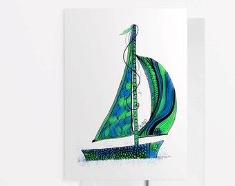 Sailboat Art Card, Sailboat Greeting Card, Nautical Notecard, Sailboat Wall Art, Sailboat Painting, Boating Card, Sailboat Zentangle 1017A