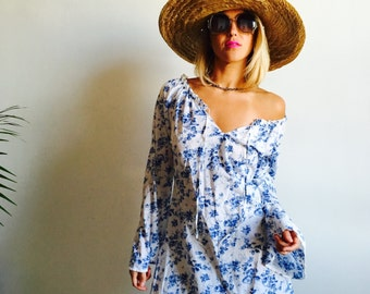 Blue and White Floral Feminine Coverup